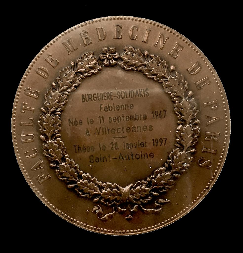 Médaille de médecine du docteur Fabienne Burguiere